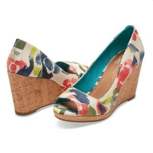 Toms | Stella Wedge in Tangerine Watercolour